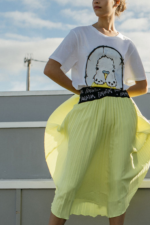 Angled Logo Elastic Asymmetrical Yellow Pleated Midi Skirt
