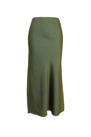 Alice Luxury Bias Cut Dark Moss Midi Skirt