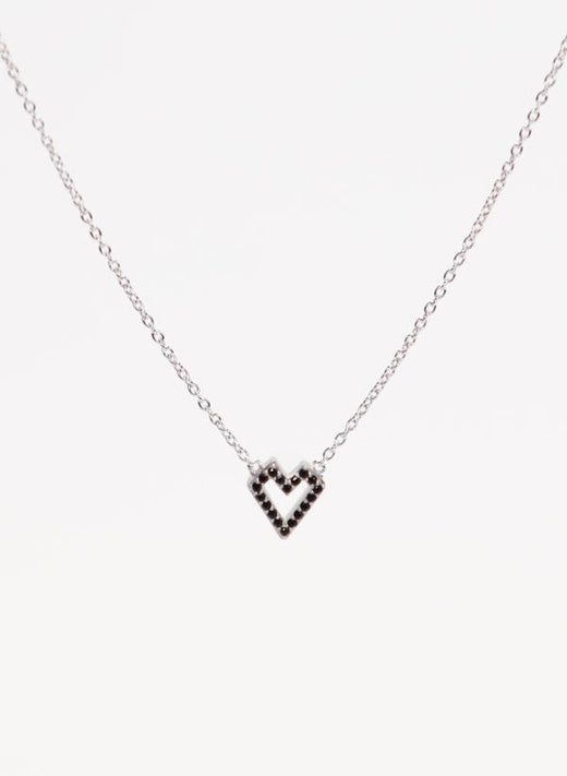 Sparkles Heart Necklace Sterling Silver Black Zirconia