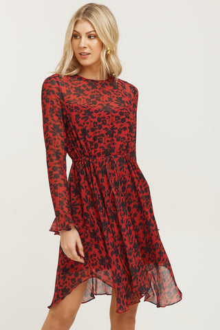 Badlands Red Animal Print LS Mini Dress