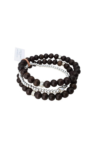 Chocolate Wood Bracelet Set