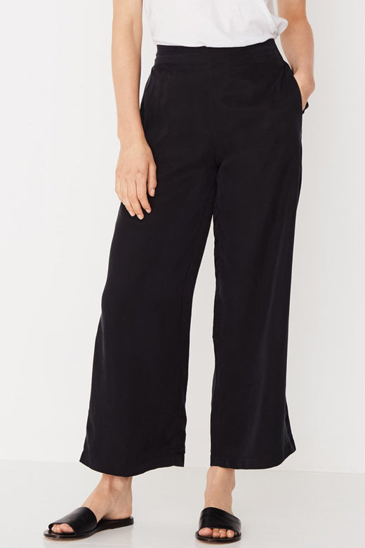 Bellevue Linen Wide Leg Black Pant