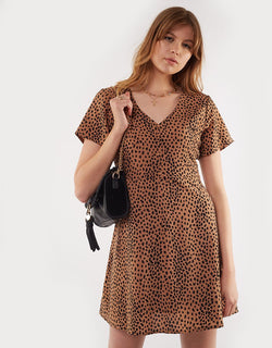 Be Wild Tan Leopard Heart Print Mini Dress