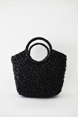 Natural Raffia Bag with Curved Handle
