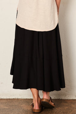 The Full Circle Black Midi Skirt