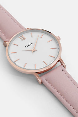 Minuit Pink Leather Strap with Rose Gold Watch