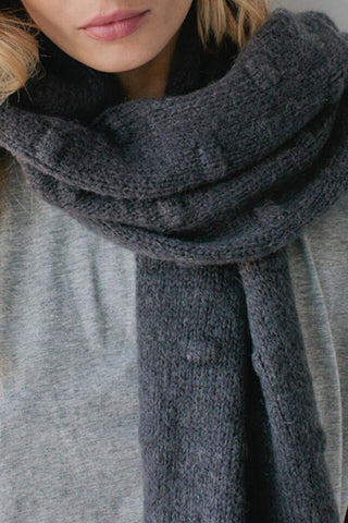 Bobble Knit Charcoal Scarf