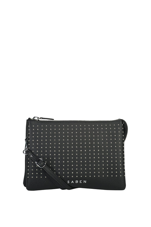 Tilly's Big Sis Black Silver Stud Leather Large Clutch