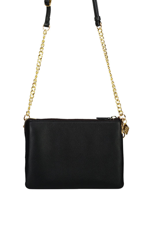 Tilly's Big Sis Black Multi Pocket Chain Strap Leather Large Clutch