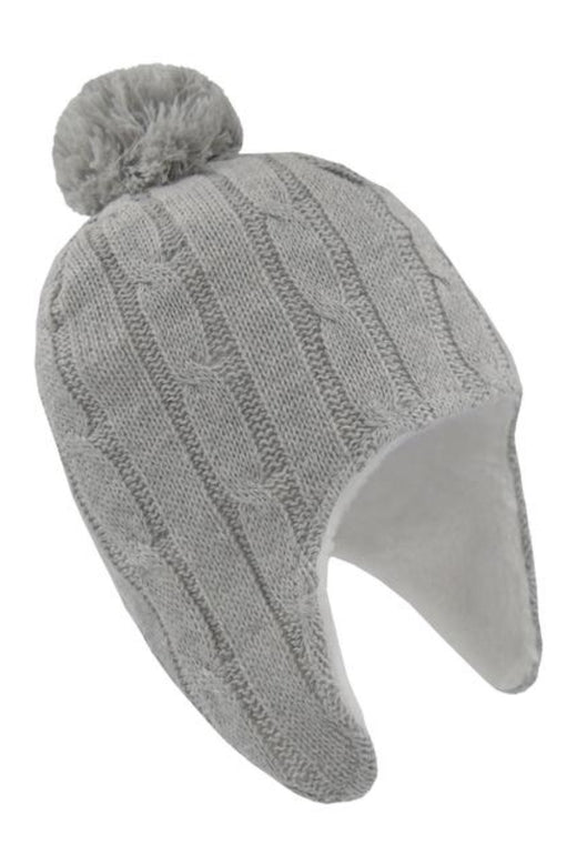 Cable Knit Sherpa Beanie Grey