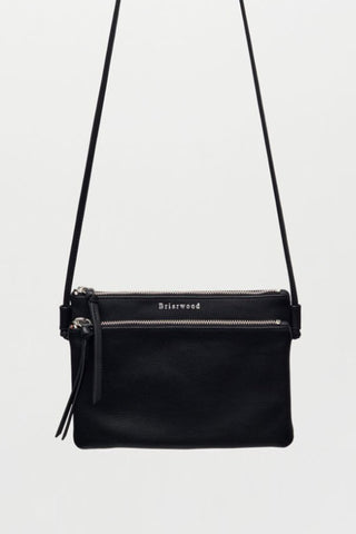 Caughey Double Pocket Black Shoulder Bag