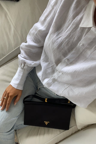 Champion White Puff Sleeve Linen Shirt with Deep Cuff