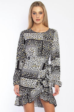 Check Me LS Animal Patchwork Dress