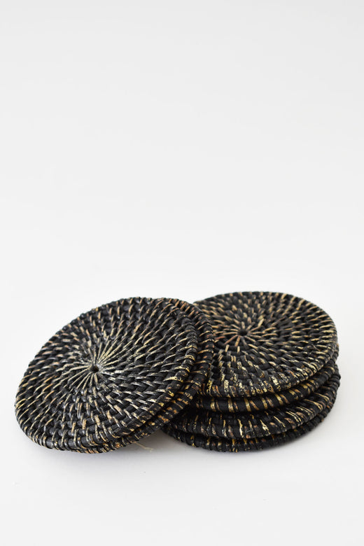 Round Weaved Coaster Charcoal (6 set)