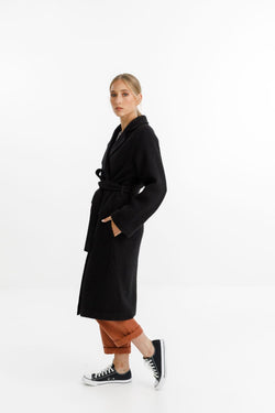 Clement Belted Super Soft Black Coat