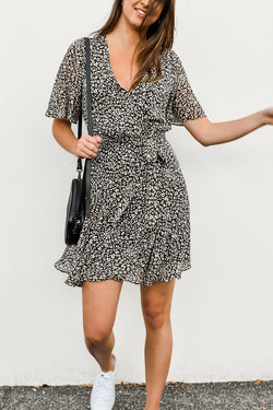 Confidence Wrap Black Animal Dress