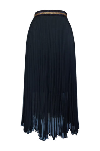 Sheer Black Midi Pleat Skirt