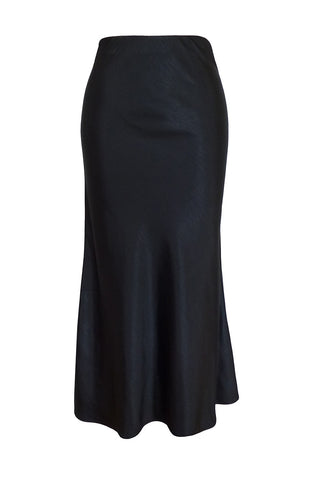 Alice Luxury Bias Cut Midi Black Skirt