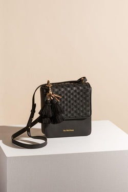 Paloma Woven Leather Box Bag Black