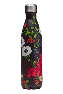 Black Bloom Metal Drink Bottle 750ml