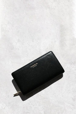 The Dion Pebbled Gold Wallet Black