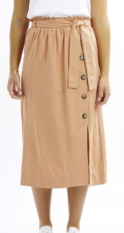 Beyond Long Button Front Rust Cotton Skirt