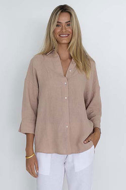 Empire Mid Sleeve Blush Linen Cropped Shirt