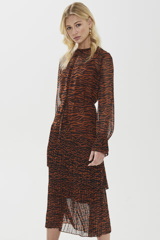 Esmee Zebra Print Toffee LS Midi Dress
