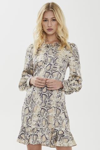 Fleur LS Snake Print White Mini Dress