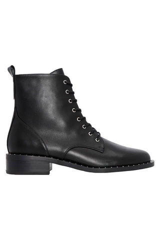 Franky Lace Up Flat Black Leather Boot