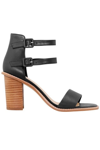 Gabby Double Ankle Strap Black Wooden Block Heel
