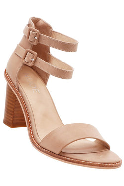Gabby Double Ankle Strap Nude Wooden Block Heel
