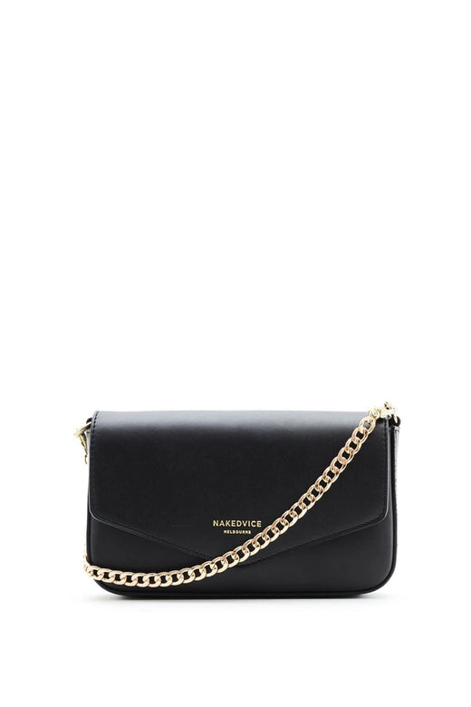 Giselle Gold Chain Strap Black Leather Envelope Bag