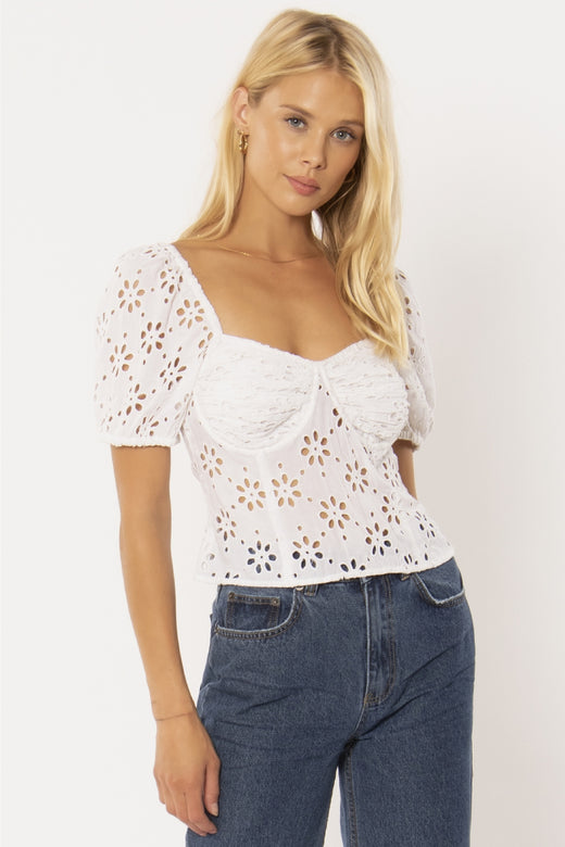 Golden Light White Emb Anglaise Crop Top