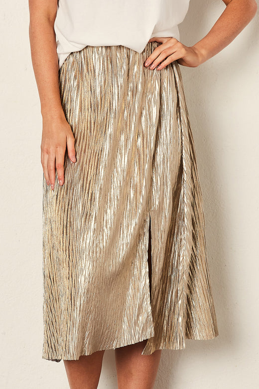 Shadow Gold Pleated Midi Skirt