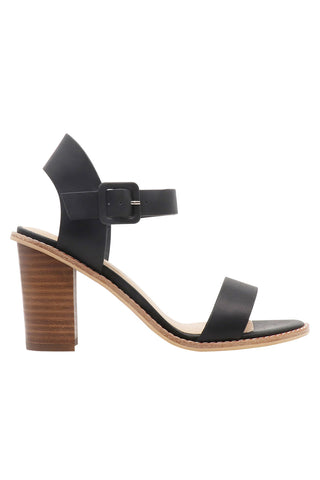 Gracie Black Leather Ankle Strap Heel