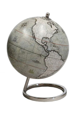 Green World Globe on Silver Stand 13cm