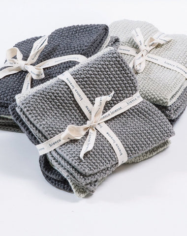Textured Grey Wash Cloths Set of 3