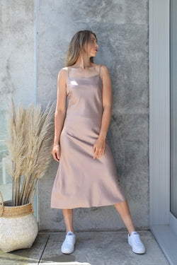 Happy Hour Shell Pink Satin Soft Cowl Neck Midi Dress