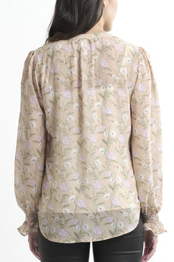 Honey LS Champagne Floral Blouse