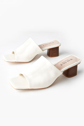 Indie White Leather Mule Heel