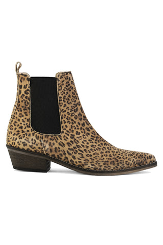 Stella Split Leather Beige Leopard Ankle Boot