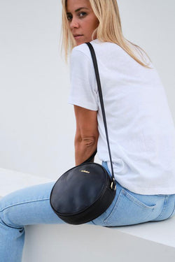 Josie Round Leather Black Bag