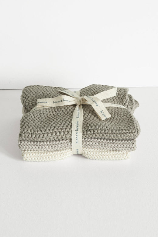 Textured Lavette Taupe Wash Cloths Set of 3