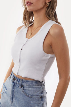 Leah Button Up White Crop Tank