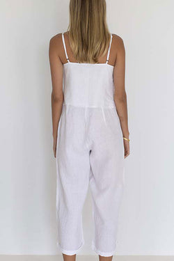 Love Strappy Cropped White Jumpsuit