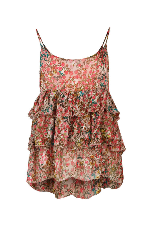 Frill Loving You Strappy Chiffon Whimsical Garden Pink Floral Top