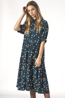 Luna Relaxed Navy Vines Shirt Dress