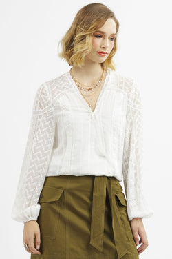 Madison White LS V Neck Blouse