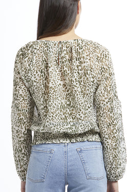 Melbourne Green Sheer Leopard Pleat Neck LS Top
